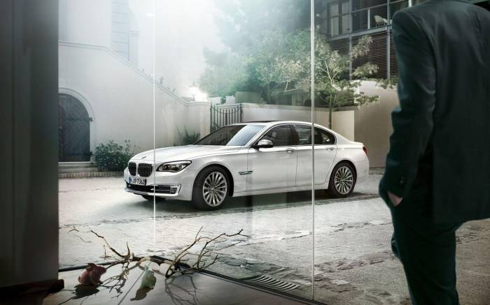 Белый БМВ 7 серии, white, BMW 7 series, авто