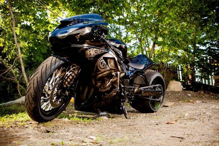 Мотоцикл, тюнинг, спортбайк, чёрный, аэрография