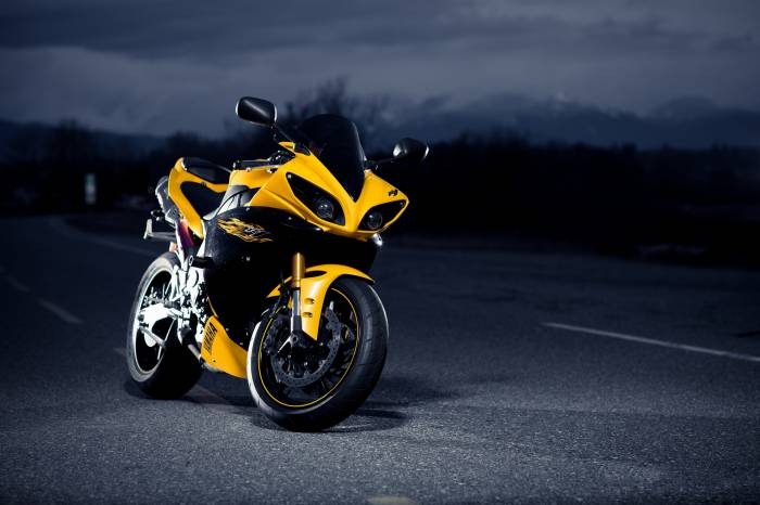 Yamaha, black, yellow, Ямаха, мотоцикл, черный
