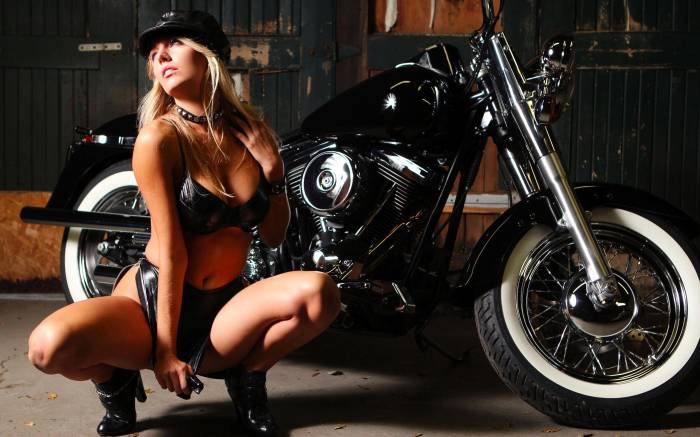 Мотоцикл, motorcycles, байк, девушка, тело, грудь