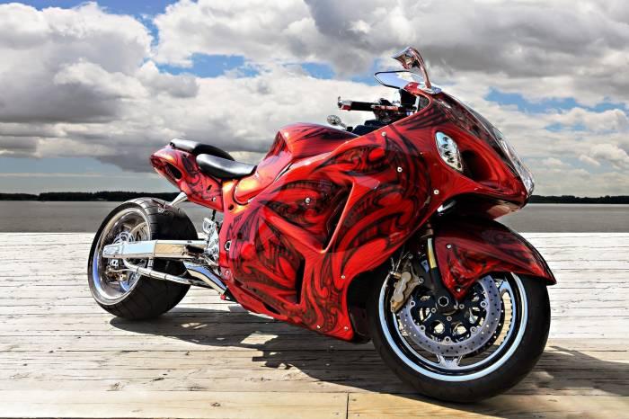 мотоцикл, красный, аэрография, спортбайк, bike