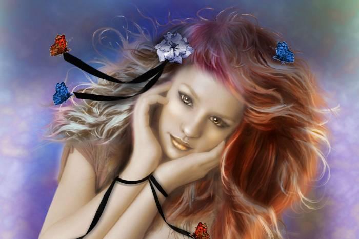 Девушка, лицо, арт, бабочки, живопись, взгляд