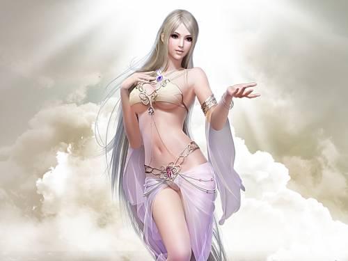 Девушка, блондинка, Fantasy Girls, арт, облака