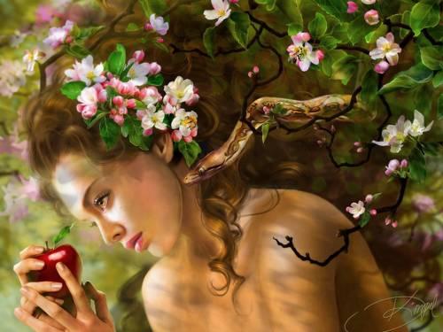 Fantasy Girls, арт, волосы, девушка, яблоко