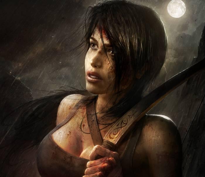 Lara Croft, Tomb Raider, Лара Крофт, арт, кровь
