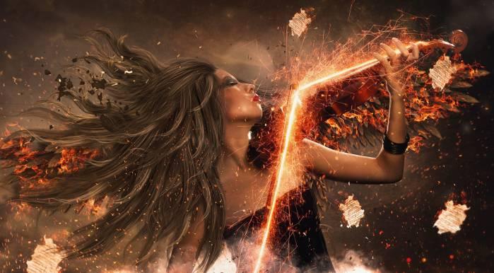 Девушка, скрипка, искры, пламя, girl, violin