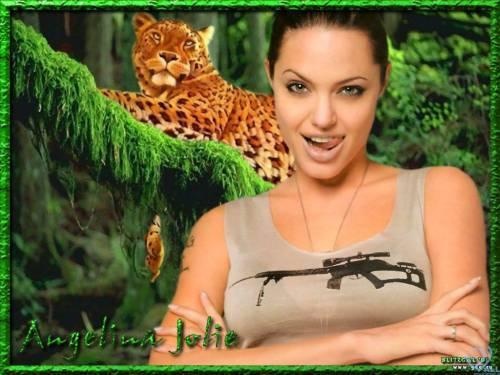 Angelina Jolie, Анжелина Джоли,  девушка, леопард