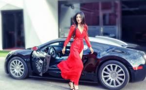 Девушка, брюнетка, автомобиль, платье, girl, car