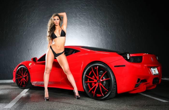 Ferrari 458 italia, девушка, Феррари, красная, car