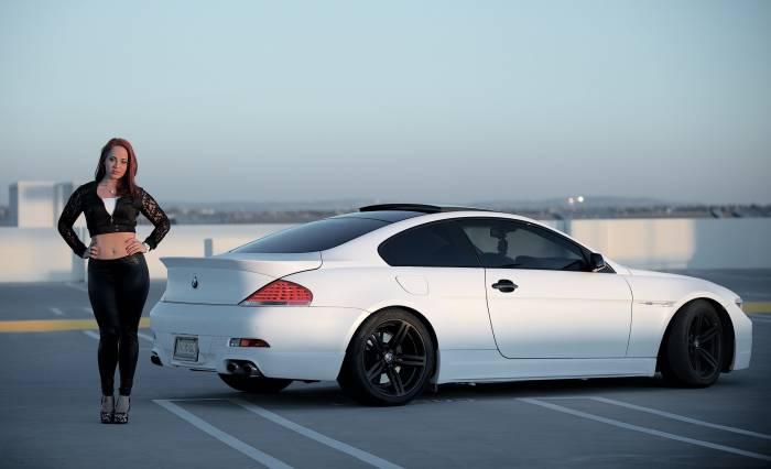 Авто, девушка, BMW, m6, e63, БМВ, белый, машина