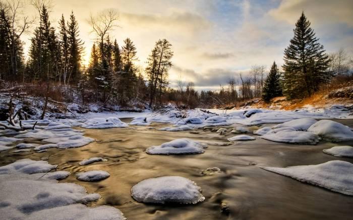 Зима, вода, снег, winter, лес, природа