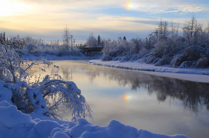 Зима, мост, природа, пейзаж, река, river, winter