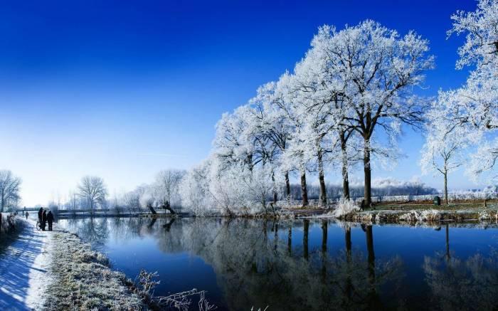 Зима, река, снег, snow, winter, природа