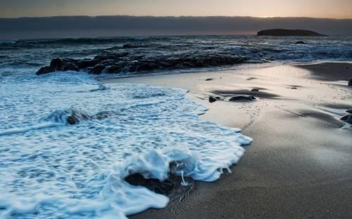 Море, волны, ночь, морская пена