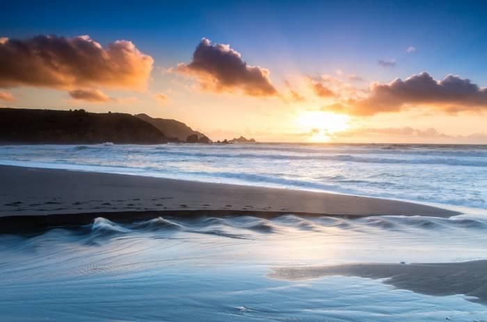 Песок, пляж, утро, beach, pacifica, океан, берег
