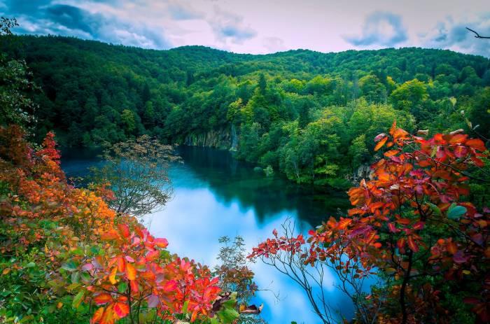 Осень, лес, озеро, деревья, водопады, пейзаж