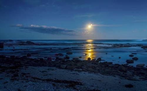 Море, пейзаж, закат, камни