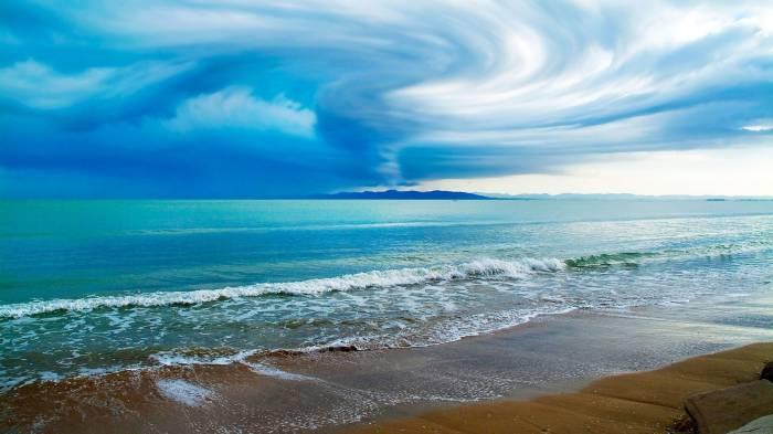 Волна, вода, пляж, песок, море, небо, beach, water
