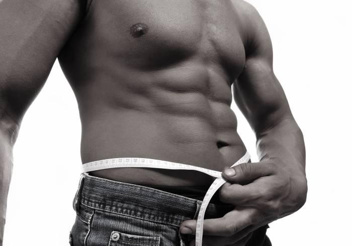 Мужчина, торс, джинсы, сантиметр, пресс, мышцы