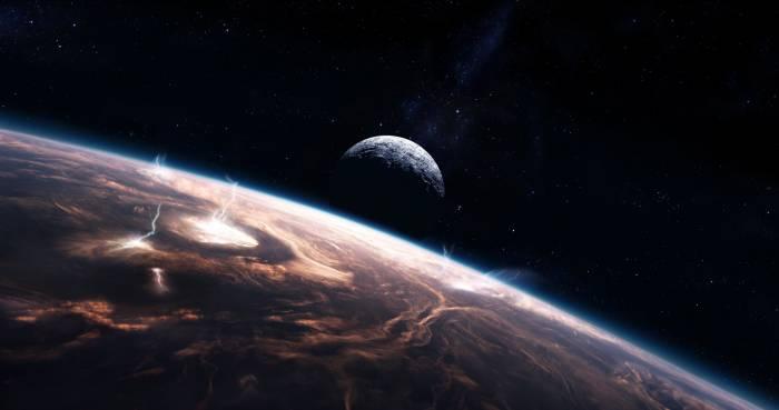 Звезды, облака, молнии, планеты, космос, stars