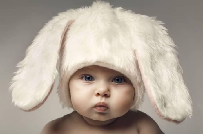 Ребёнок, мальчик, уши, заяц, взгляд, baby, boy