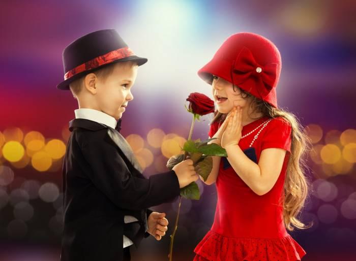 Мальчик, девочка, дети, подарок, роза, цветок, boy