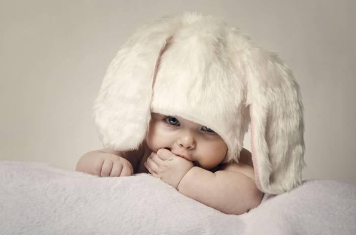 Мальчик, ребёнок, уши, заяц, взгляд, baby, boy