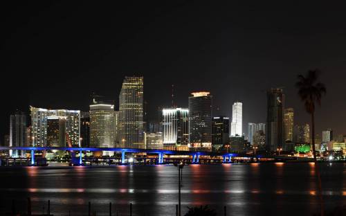 Miami, Майами, панорама, США, city, огни
