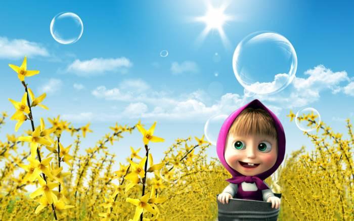 Маша и медведь, Маша, цветы, ведро, пузыри, мульт
