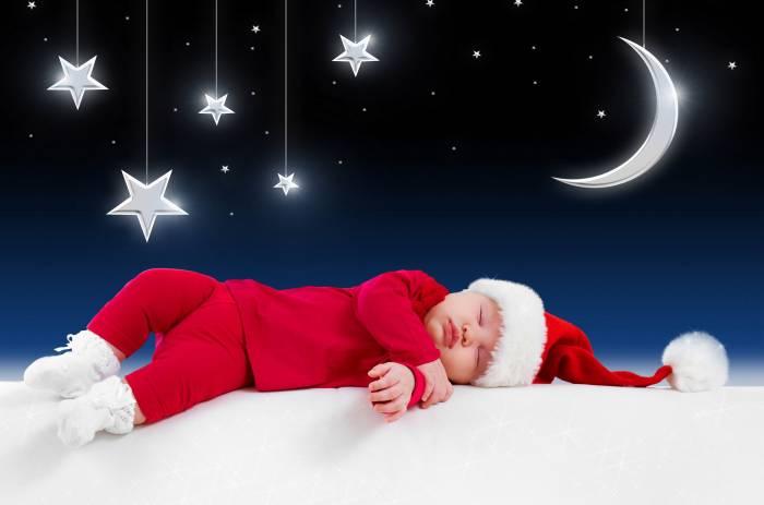 Ребенок, Новый год, Рождество, спит, Дед Мороз