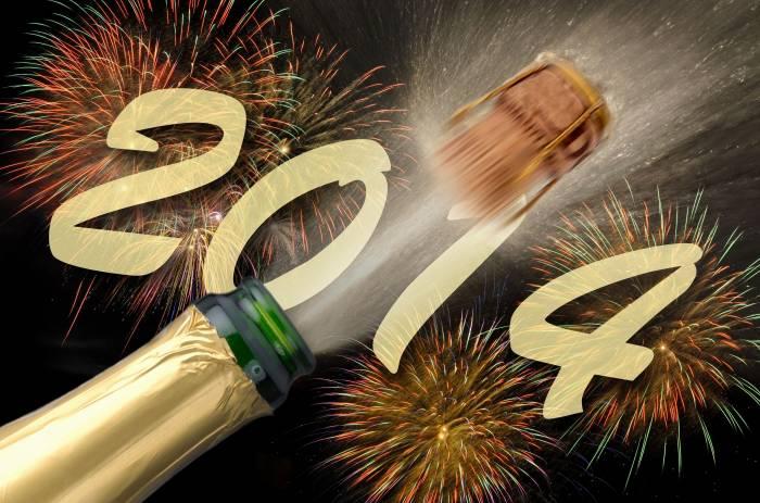 Бутылка, шампанское, салют, 2014, новый год