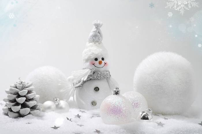 Снеговик, шарики, шишка, новогодние обои, snowman