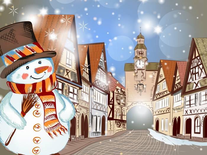 Снеговик, зима, деревья, снег, дом, Christmas