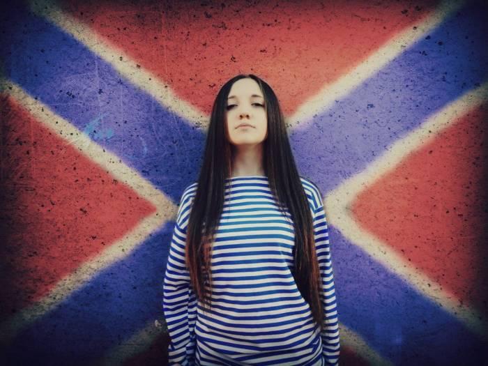 Девушка, флаг, Новороссия, тельняшка, красотка