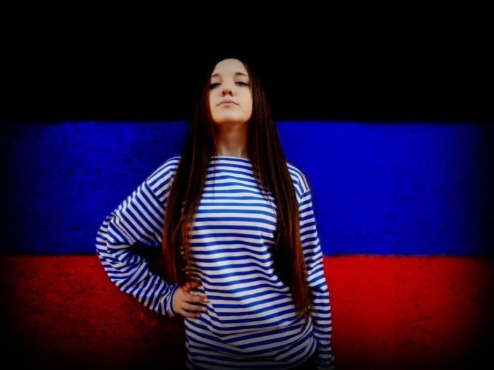 Девушка, брюнетка, флаг, ДНР, тельняшка, красотка