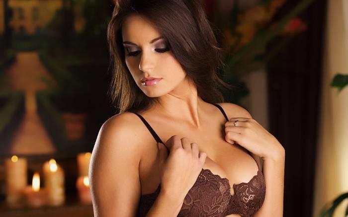 Модель, брюнетка, грудь, девушка, лифчик, лицо