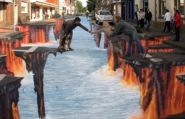 фото 3D рисунки на асфальте